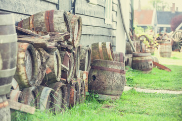 vintage wooden beer barrels