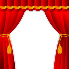 Red curtain of a classical theater.