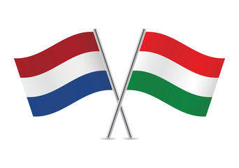 Hungarian and Netherlands flags. Vector illustration.