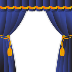 Blue curtain of a classical theater.