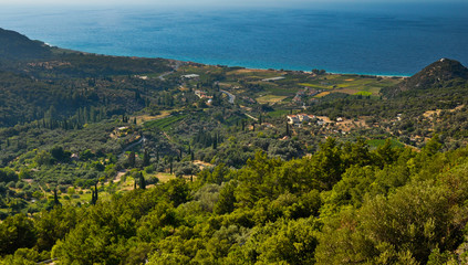 Samos island north coast panorama
