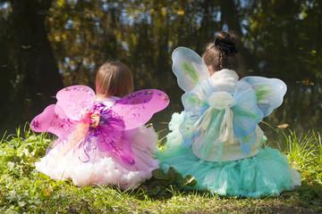 Девочки в костюмах бабочкек на берегу озера