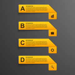 3D realistic paper options infographics modern style.