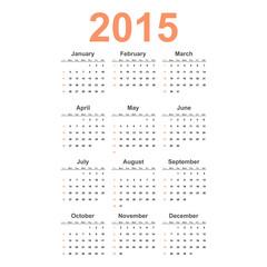 Vector simple calendar 2015 year.