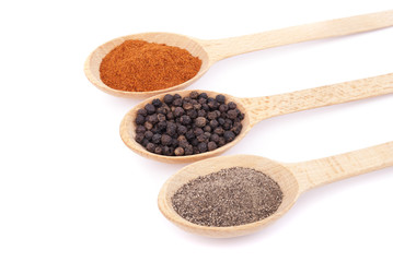 Spices on wooden spoons isolated on white background.