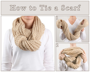 How to tie a scarf? Woman wearing scarf, close up