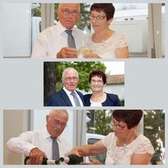 couple de personnes âgées,fête et champagne