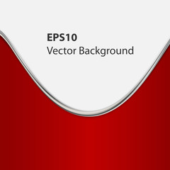 Red background curve line on white space for text and message.