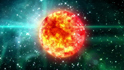 solar sun in the space night background
