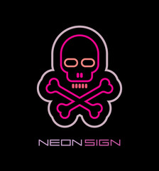 Skull and Crossbones neon sign