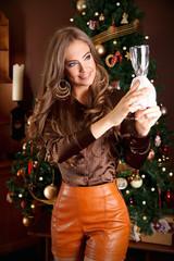 Pretty woman during Christmas preparation