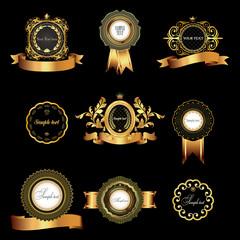 Set of vintage  gold-framed labels.