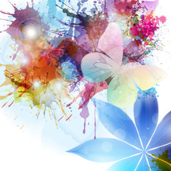 Abstract background in grunge style with flower and butterfly.