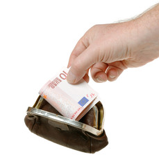 Purse with banknote and hand