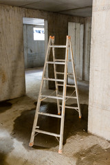 Ladder in rooms on a construction site