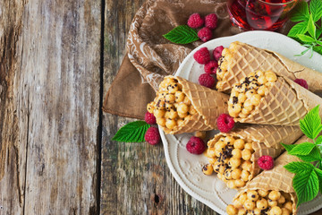 waffle cones with corn balls