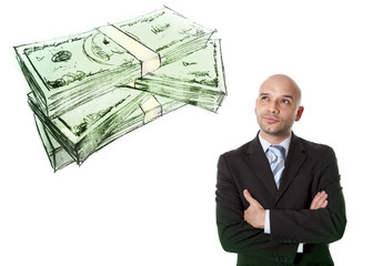 Hispanic attractive businessman thinking of money isolated white