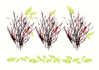 Herbstliche Muster aus echtem Abdruck Acrylfarben
