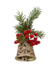 Christmas bell decorated with fir branches and berries