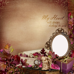 Frame with retro decorations on vintage background
