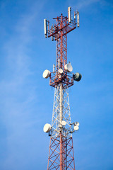 Mobile phone communication tower with devices