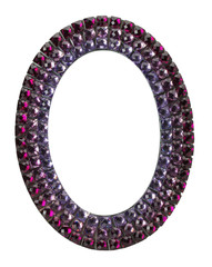 oval frame with purple gems on the white background