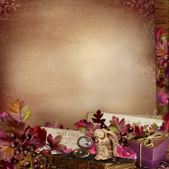 Retro decoration with leaves and flowers on vintage background