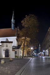 Aancient tenements and church in Krakow, Poland
