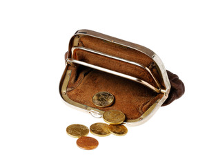 Brown purse with coins