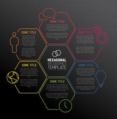 Modern dark hexagonal Infographic report template