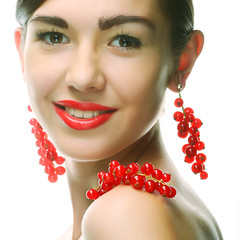 woman with red currant.