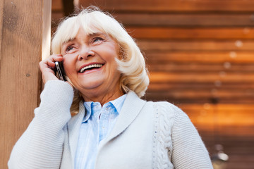 Senior woman on the phone.