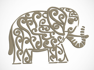 Ornate decorative elephant illustration on white background