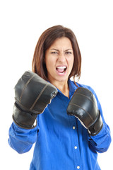 casual woman celebrating wearing boxing gloves