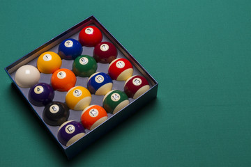 Billiard balls set in a  box side view; left said