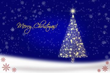 Blue Christmas card with Christmas tree