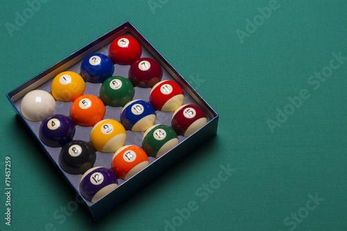 Staande foto Billiard balls set in a box side view; left said