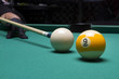 Leinwandbild Motiv Billiard balls in a pool table. focus on the white ball