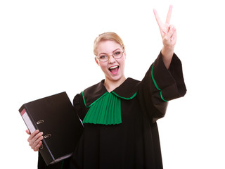 Young female lawyer attorney wearing classic polish  gown