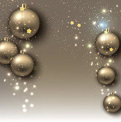 Christmas background with balls. Golden Xmas baubles. Vector