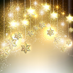 Christmas  background with luminous garland with stars. Vector i