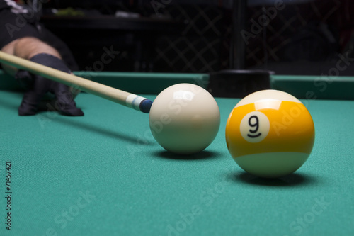 Foto op Canvas Stierenvechten Billiard balls in a pool table. focus on the white ball