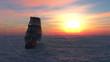 velero y puesta de sol