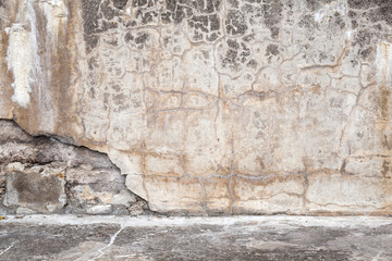Old concrete wall with cracks, interior background texture