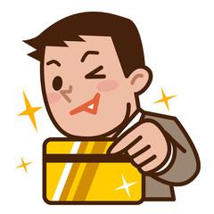 ゴールドカードで支払うビジネスマン