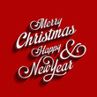 Merry Christmas and Happy New Year type calligraphic typography