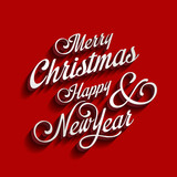 Fototapety Merry Christmas and Happy New Year type calligraphic typography
