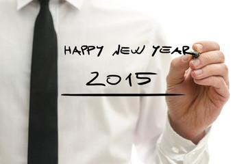 Man writing Happy New Year 2015