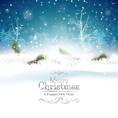 Christmas blue greeting card with place for text