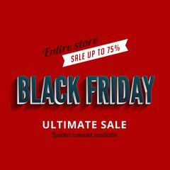 Black Friday Sale Poster design 3D Retro Typography